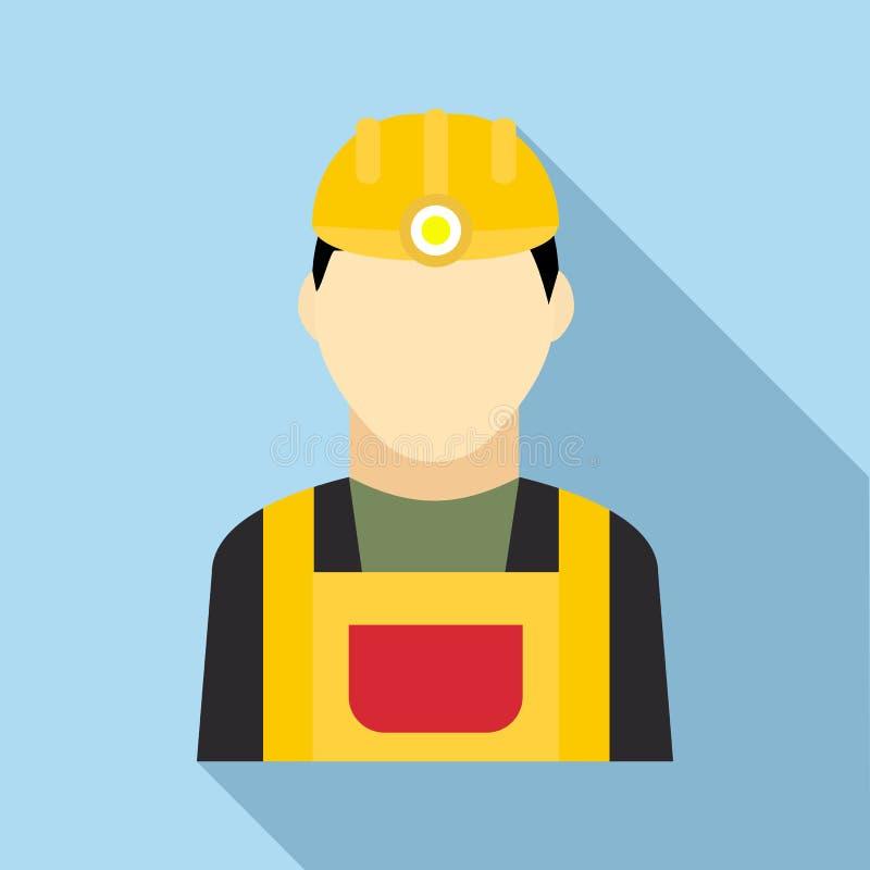 Icono del minero de carbón en estilo plano ilustración del vector