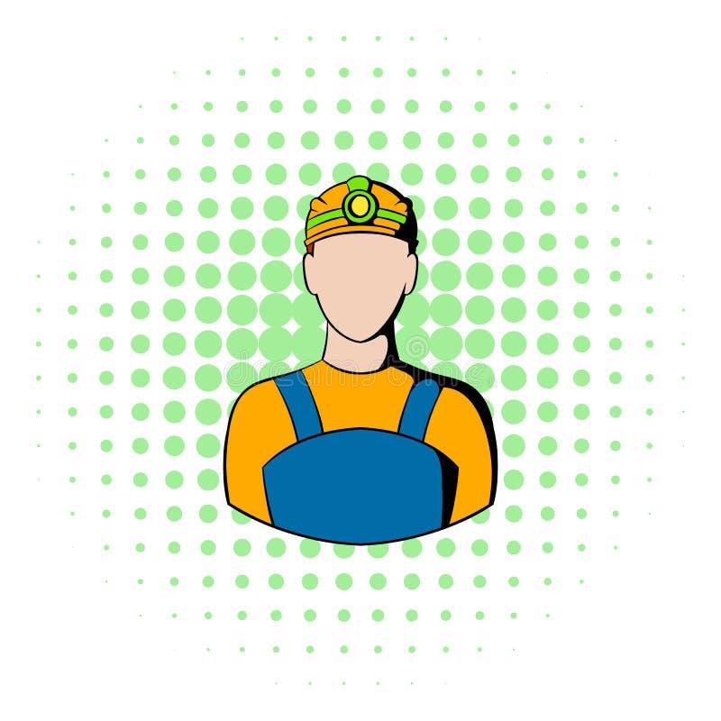 Icono del minero de carbón, estilo de los tebeos libre illustration