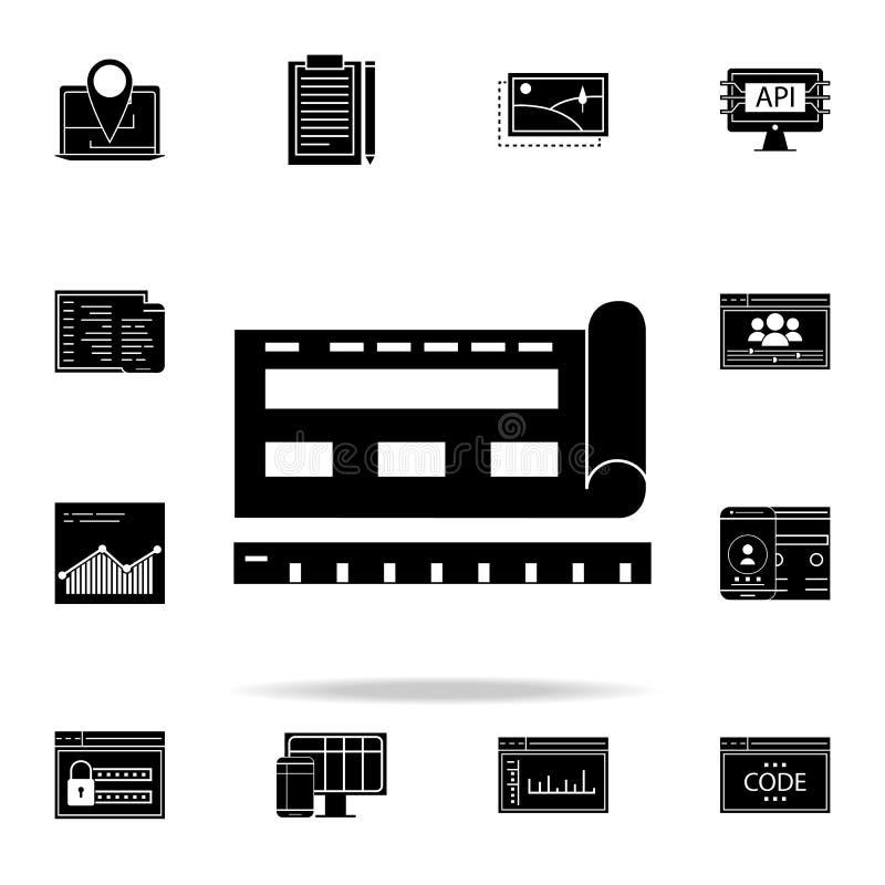 icono del modelo del browsersite Sistema universal de los iconos del desarrollo web para el web y el móvil ilustración del vector