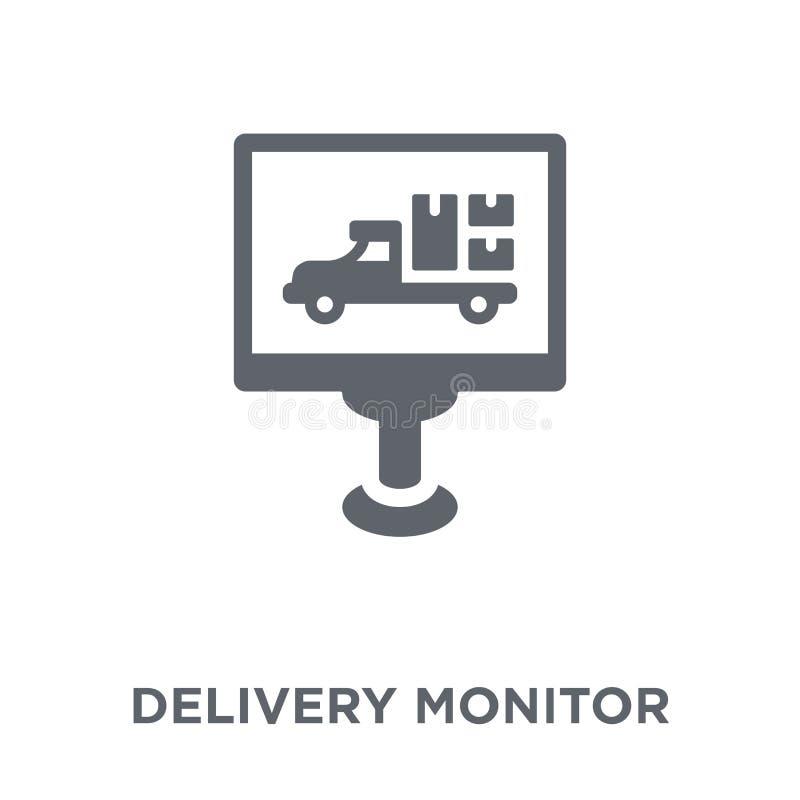 Icono del monitor de la entrega de la entrega y de la colección logística stock de ilustración