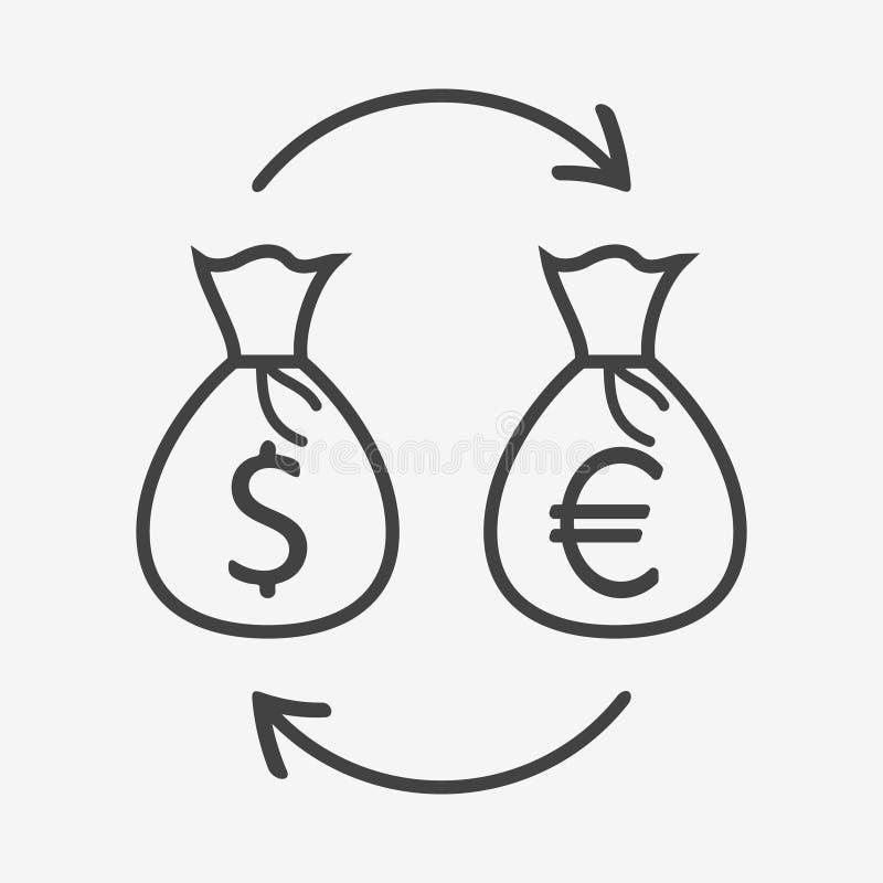 Icono del monocromo del intercambio de moneda Bolsos del dinero con la muestra del dólar y del euro stock de ilustración