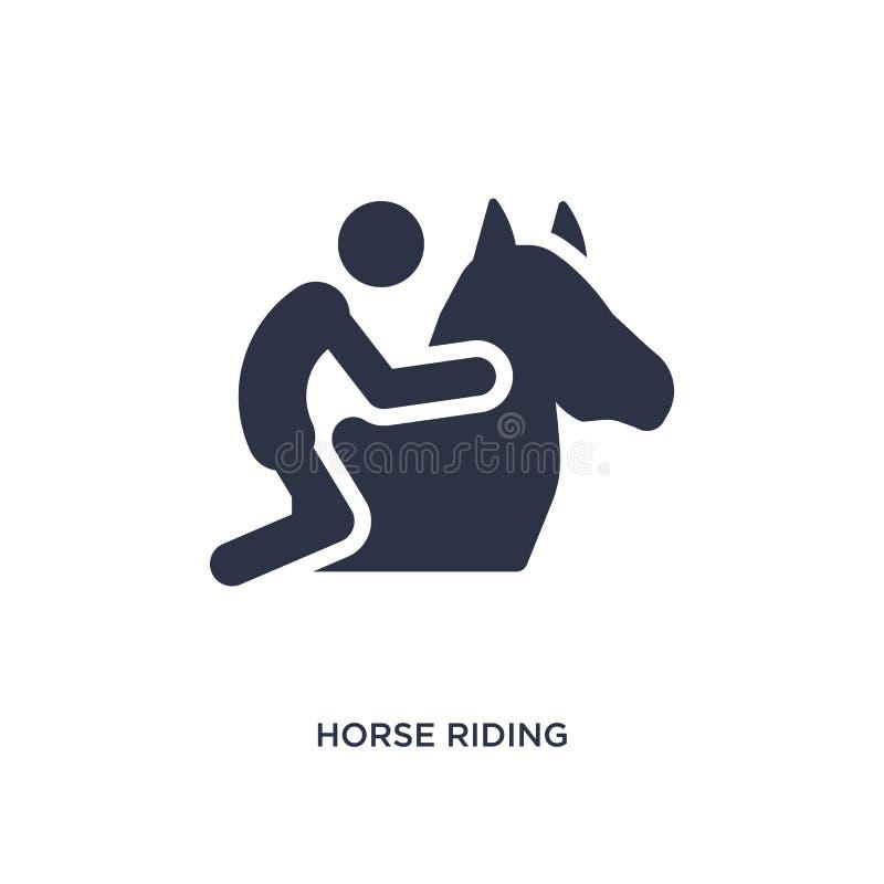 icono del montar a caballo en el fondo blanco Ejemplo simple del elemento de la actividad y del concepto de las aficiones stock de ilustración