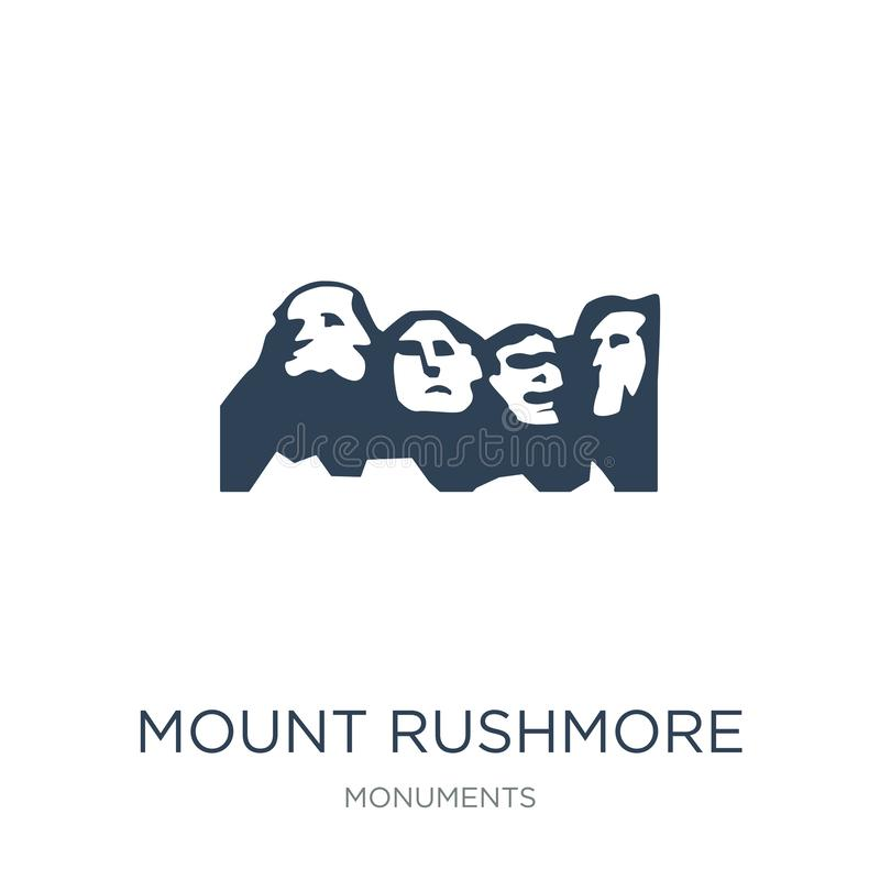 icono del monte Rushmore en estilo de moda del diseño icono del monte Rushmore aislado en el fondo blanco icono del vector del mo stock de ilustración