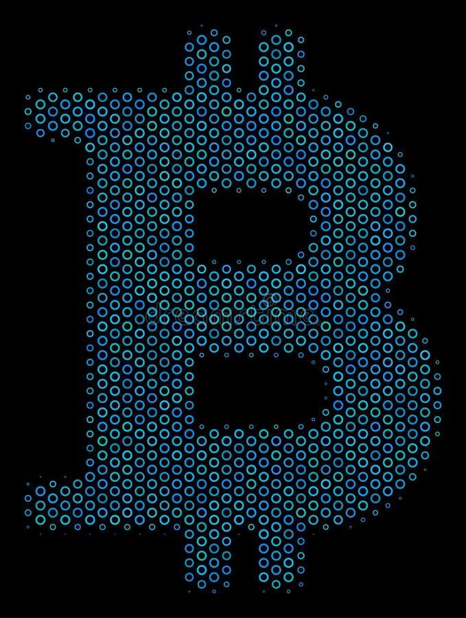 Icono del mosaico de Bitcoin de las burbujas de semitono stock de ilustración