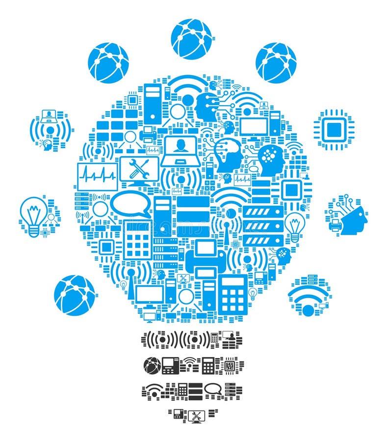 Icono del mosaico de la bombilla para BigData y computar ilustración del vector