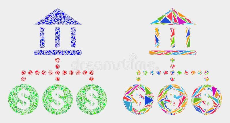 Icono del mosaico de la jerarquía del banco del vector de triángulos stock de ilustración
