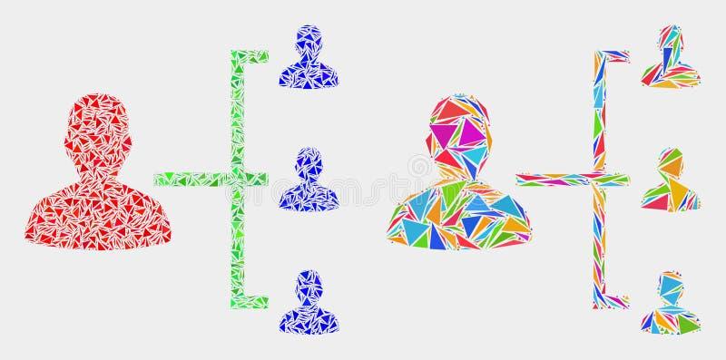 Icono del mosaico de la jerarquía de la gente del vector de los elementos del triángulo ilustración del vector