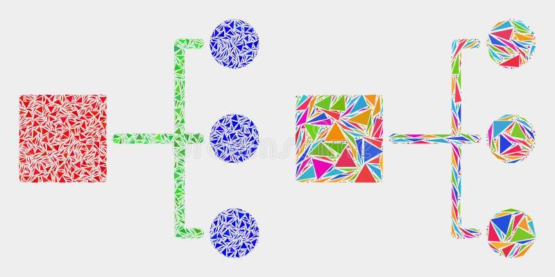 Icono del mosaico de la jerarquía del vector de triángulos ilustración del vector