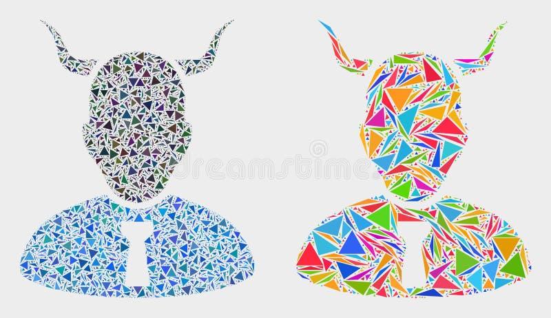 Icono del mosaico del diablo del vector de triángulos stock de ilustración