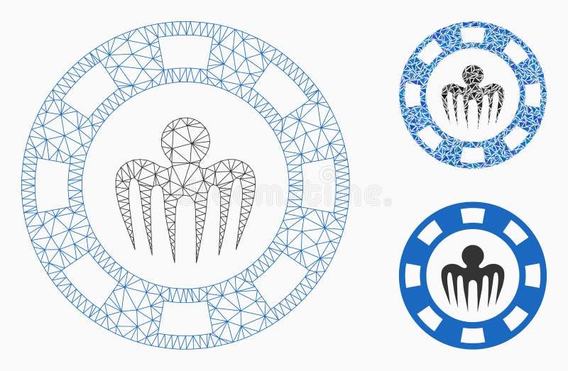 Icono del mosaico del modelo y del triángulo de Chip Vector Mesh del casino del monstruo 2.o stock de ilustración