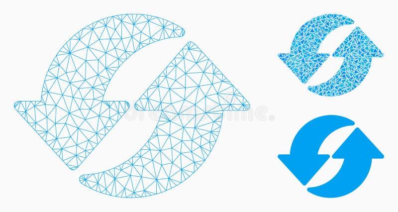 Icono del mosaico del modelo y del triángulo de la malla del vector de la actualización 2.o stock de ilustración
