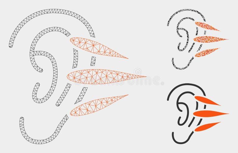 Icono del mosaico del modelo y del triángulo de la malla del vector de la audición 2.o stock de ilustración