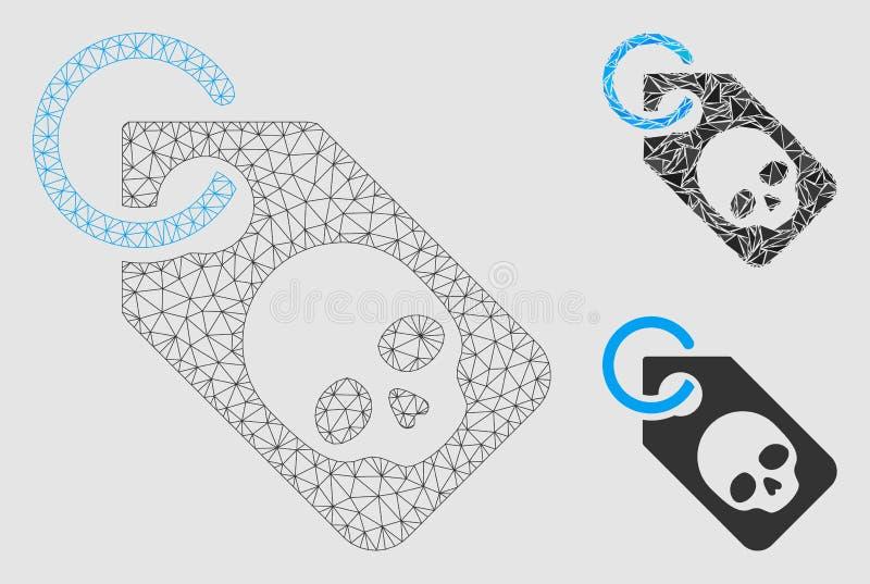 Icono del mosaico del modelo y del triángulo de la malla del vector de la etiqueta del cráneo de la muerte 2.o libre illustration