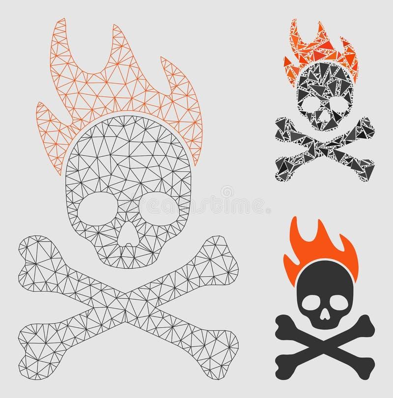Icono del mosaico del modelo y del triángulo de la malla del vector del fuego de muerte 2.o libre illustration