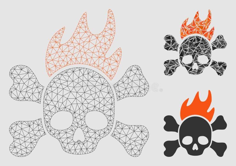 Icono del mosaico del modelo y del triángulo de la malla del vector del fuego de muerte 2.o ilustración del vector