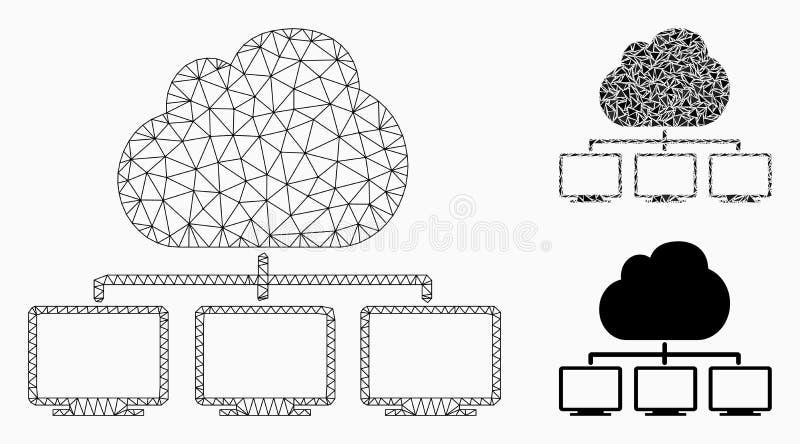 Icono del mosaico del modelo y del triángulo de la malla del vector de la jerarquía de la red de la nube 2.o ilustración del vector