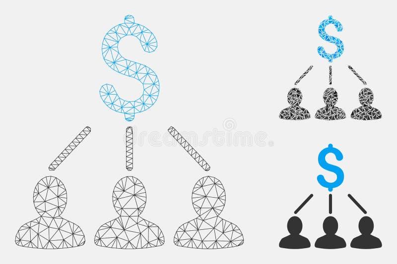 Icono del mosaico del modelo y del triángulo de la malla del vector de los accionistas 2.o libre illustration