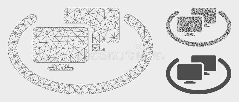 Icono del mosaico del modelo y del triángulo de la malla del vector de los ordenadores del Intranet 2.o ilustración del vector