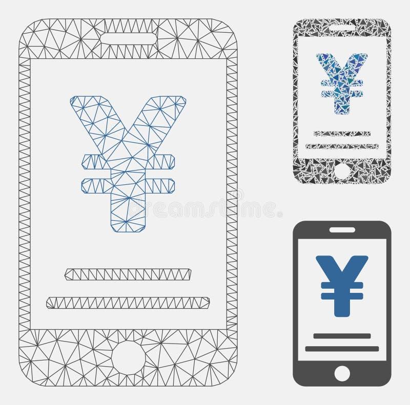 Icono del mosaico del modelo y del triángulo del marco de alambre de Yen Mobile Payment Vector Mesh stock de ilustración