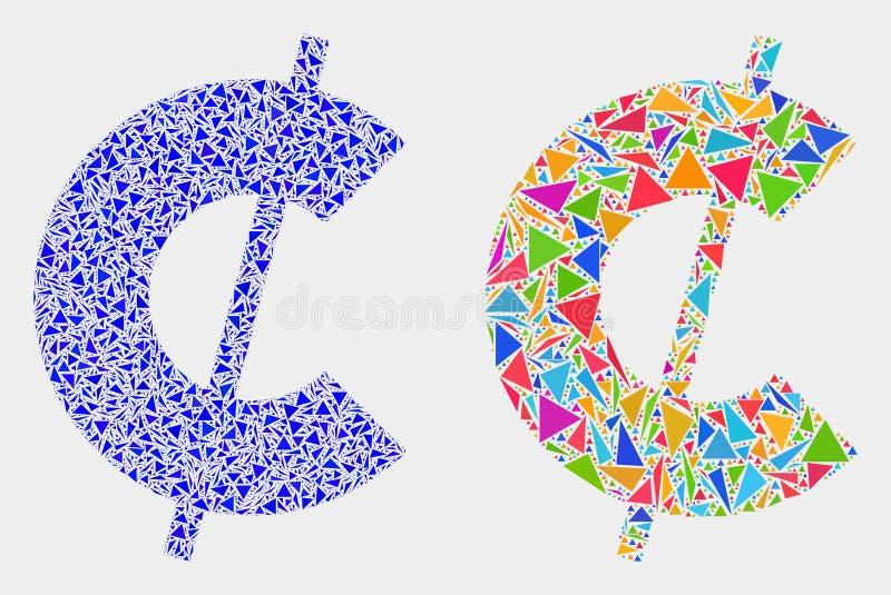 Icono del mosaico del símbolo del centavo del vector de triángulos stock de ilustración
