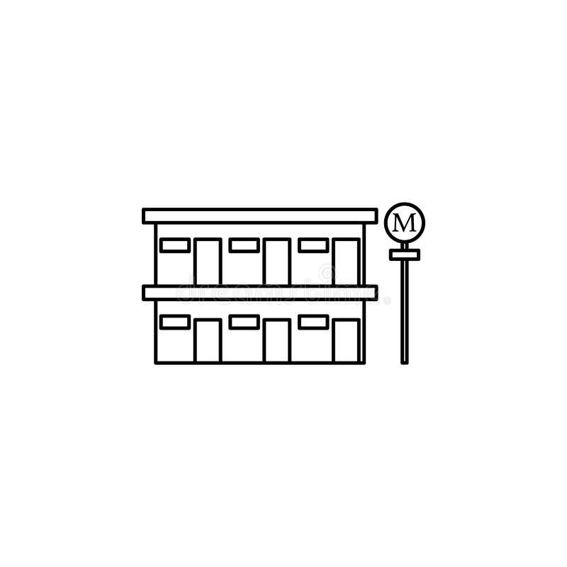 icono del motel del borde de la carretera Elemento del otel y de los moteles para los apps móviles del concepto y del web Línea f stock de ilustración