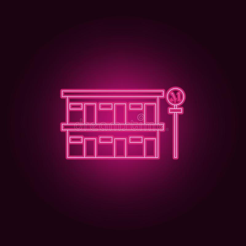icono del motel del borde de la carretera Elementos del hotel en los iconos de neón del estilo Icono simple para las páginas web, ilustración del vector
