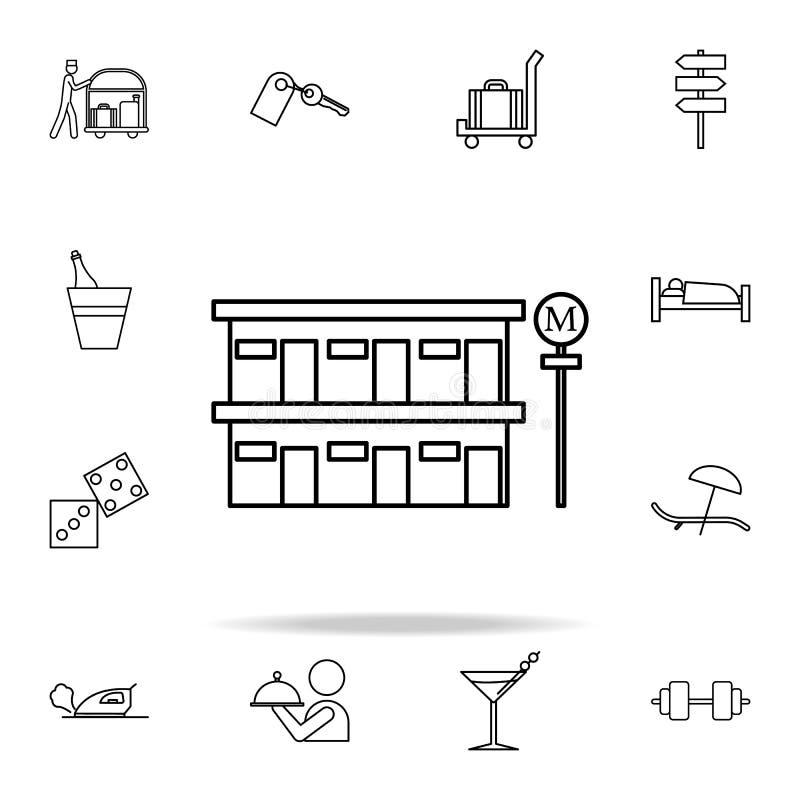 icono del motel del borde de la carretera Sistema universal de los iconos del hotel para el web y el móvil stock de ilustración