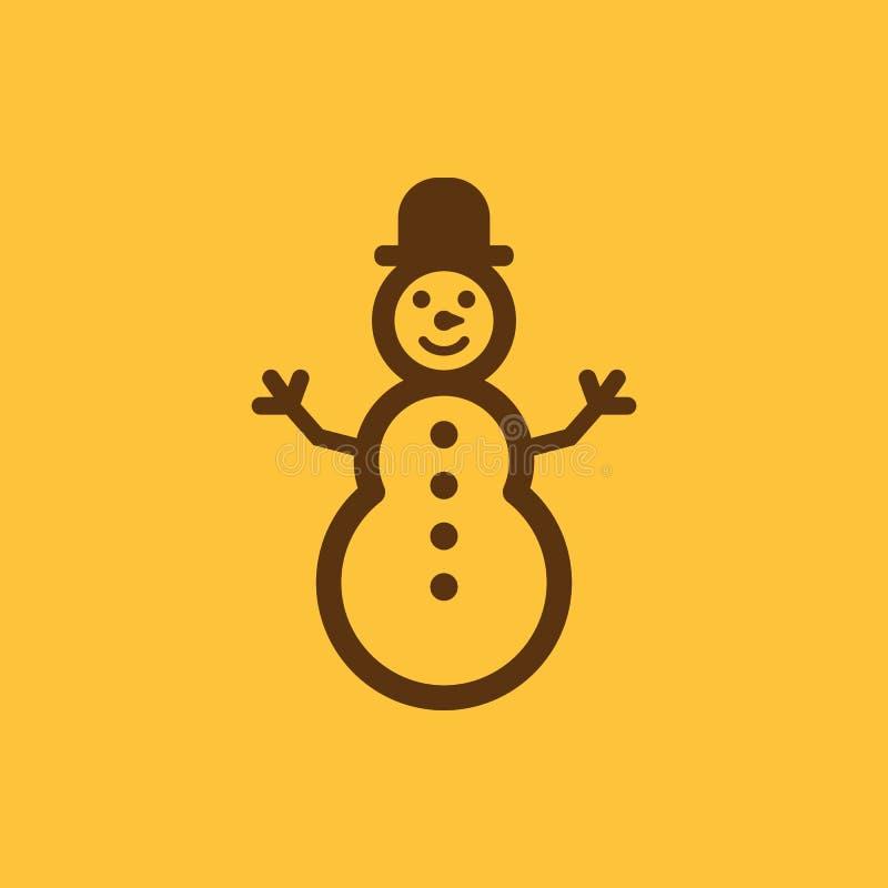 Icono del muñeco de nieve Año Nuevo y Navidad, la Navidad, símbolo del invierno Diseño plano Acción - ejemplo del vector ilustración del vector