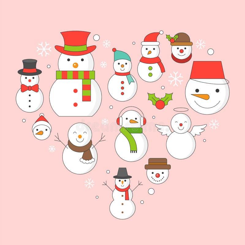 Icono del muñeco de nieve en el fondo por días de fiesta de la Navidad libre illustration