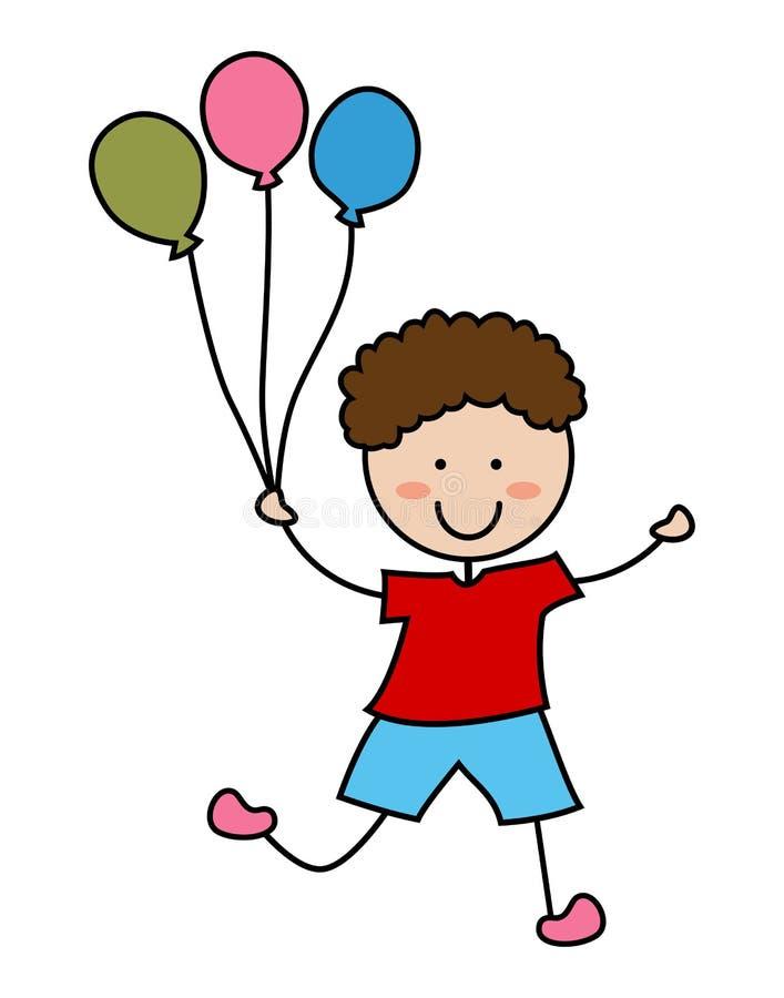 Icono del muchacho de la historieta con el globo ilustración del vector