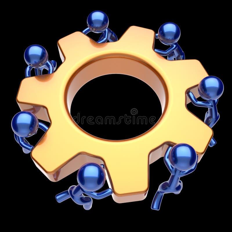 Icono del negocio de la rueda dentada de la rueda de engranaje del trabajo en equipo de los caracteres de los hombres stock de ilustración