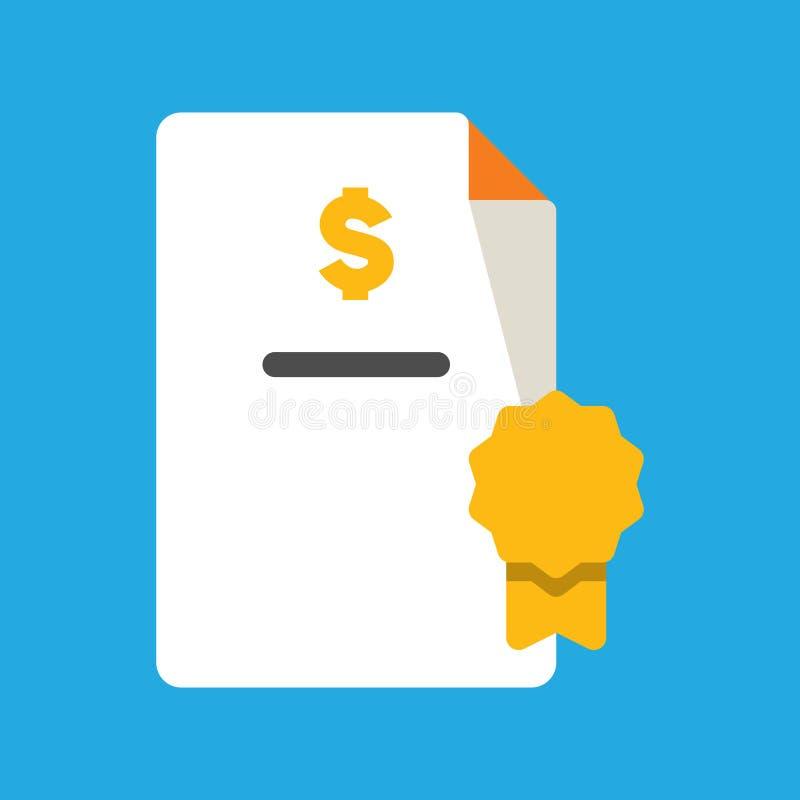 Icono del negocio, de las actividades bancarias y de las finanzas, documento doblado del fichero con el premio de la insignia y e stock de ilustración