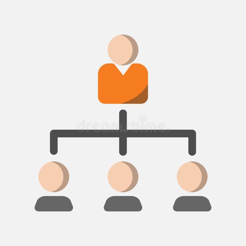 Icono del negocio, estructura de organización e icono de la jerarquía en diseño plano stock de ilustración