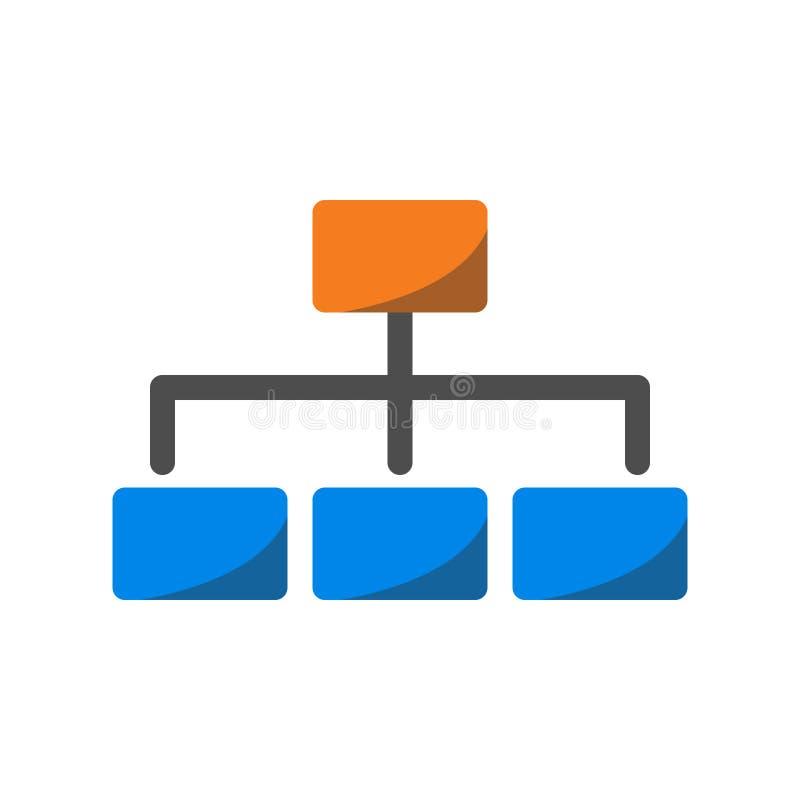 Icono del negocio, estructura de organización e icono de la jerarquía en diseño plano ilustración del vector