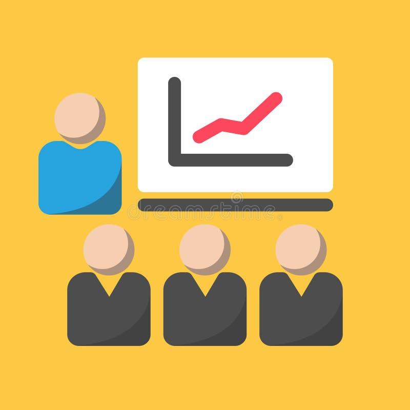 Icono del negocio, icono plano de la presentación con la audiencia y datos gráficos libre illustration