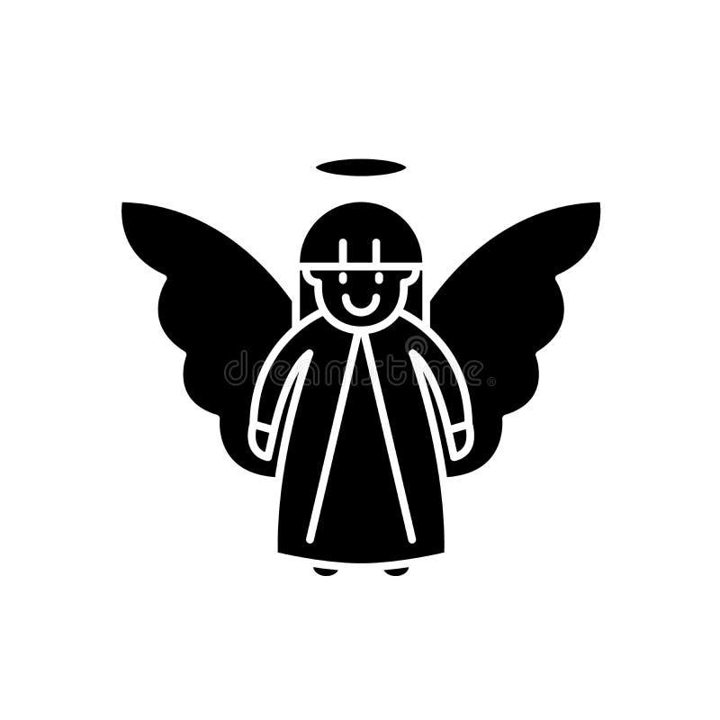 Icono del negro del ángel de Pascua, muestra del vector en fondo aislado Símbolo del concepto del ángel de Pascua, ejemplo ilustración del vector