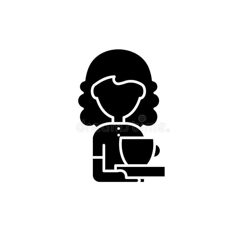 Icono del negro del amante del café, muestra del vector en fondo aislado Símbolo del concepto del amante del café, ejemplo ilustración del vector