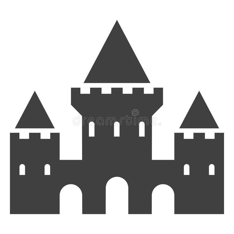 Icono del negro del castillo, fortaleza con la silueta de las torres stock de ilustración