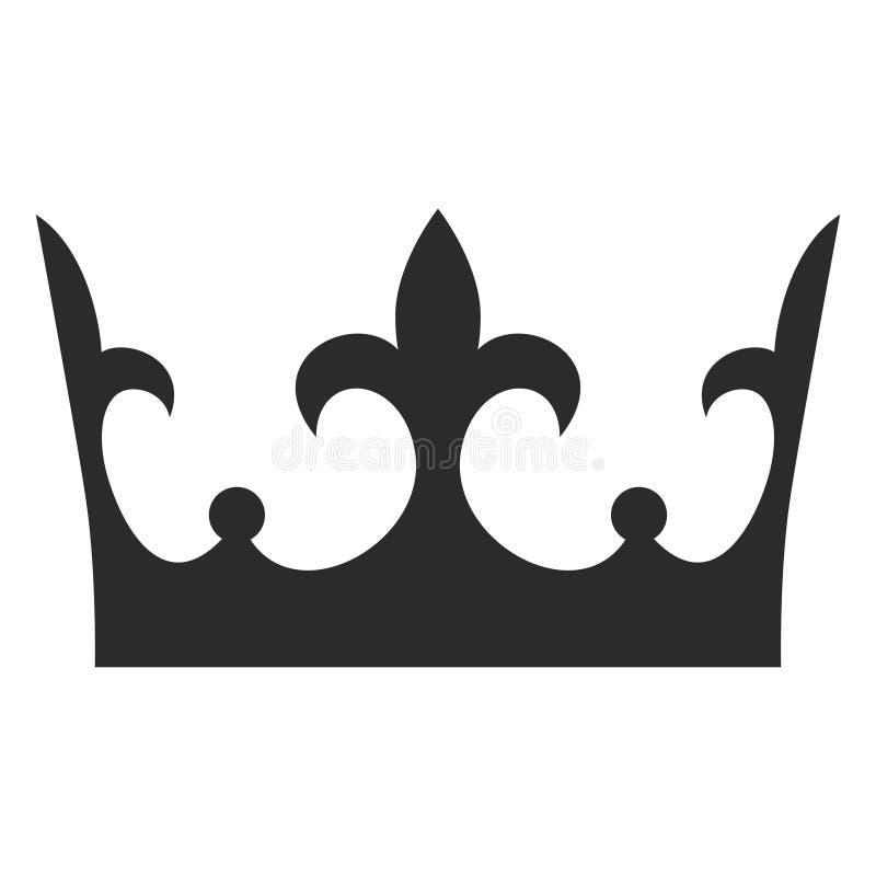 Icono del negro de la corona del rey, silueta de la decoración del monarca stock de ilustración