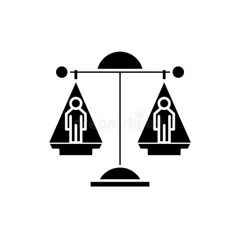 Icono del negro de la decisión legal, muestra del vector en fondo aislado Símbolo del concepto de la decisión legal, ejemplo stock de ilustración