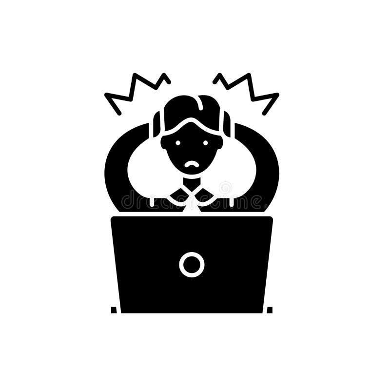 Icono del negro de la decisión del mal, muestra del vector en fondo aislado Símbolo incorrecto del concepto de la decisión, ejemp ilustración del vector