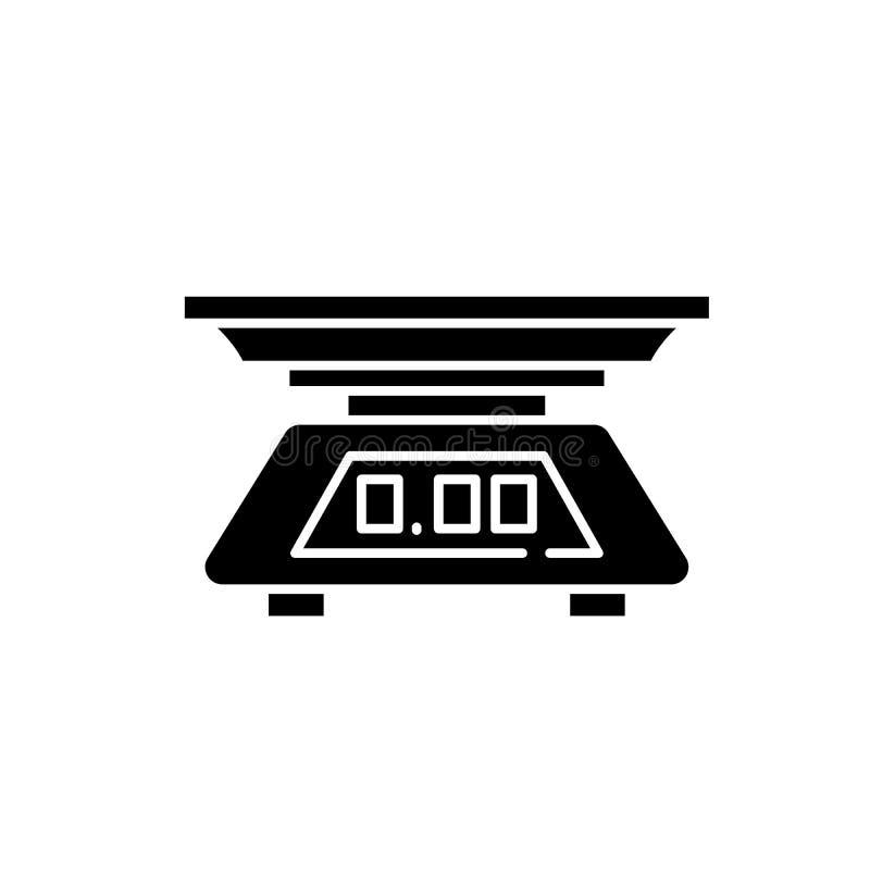 Icono del negro de la escala de la cocina, muestra del vector en fondo aislado Símbolo del concepto de la escala de la cocina, ej ilustración del vector
