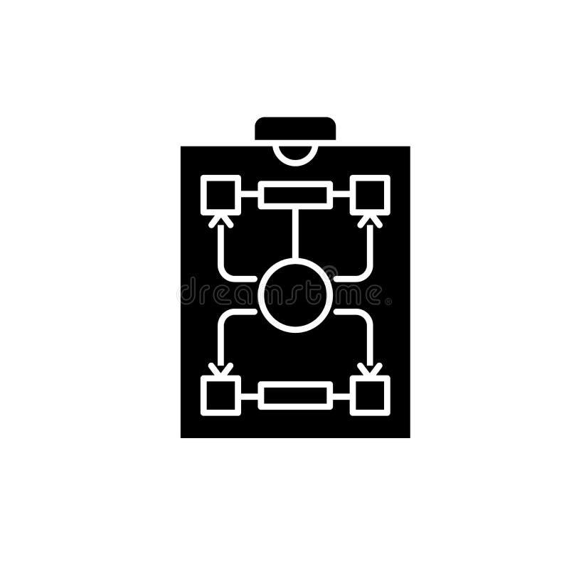 Icono del negro de la estructura de organización, muestra del vector en fondo aislado Símbolo del concepto de la estructura de or ilustración del vector