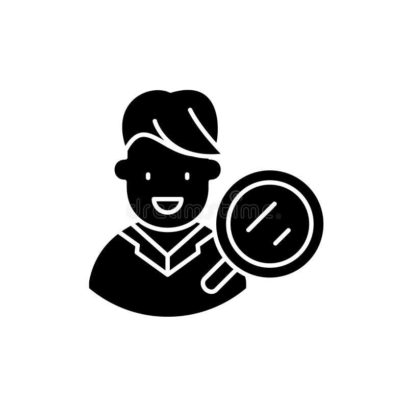 Icono del negro de la investigación del público objetivo, muestra del vector en fondo aislado Símbolo del concepto de la investig ilustración del vector