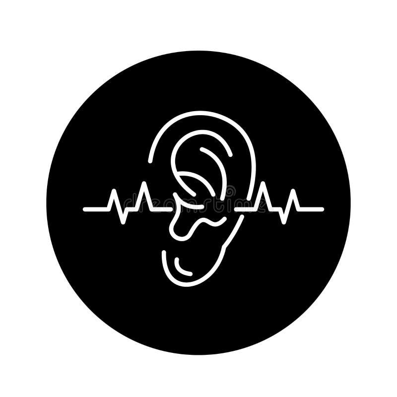 Icono del negro de la prueba de audiencia, muestra del vector en fondo aislado Símbolo del concepto de la prueba de audiencia, ej stock de ilustración