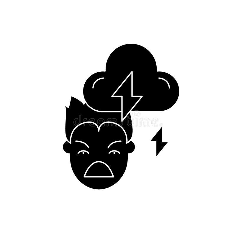 Icono del negro de la violencia, muestra del vector en fondo aislado Símbolo del concepto de la violencia, ejemplo libre illustration