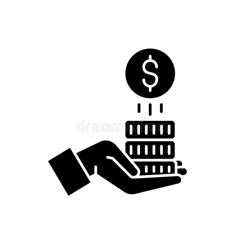 Icono del negro del dinero del patrocinio, muestra del vector en fondo aislado Símbolo del concepto del dinero del patrocinio, ej ilustración del vector