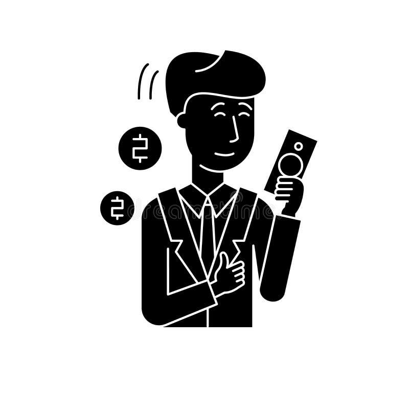 Icono del negro del hombre rico, muestra del vector en fondo aislado Símbolo del concepto del hombre rico, ejemplo libre illustration