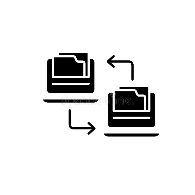 Icono del negro del intercambio de los ficheros, muestra del vector en fondo aislado Símbolo del concepto del intercambio de los  libre illustration