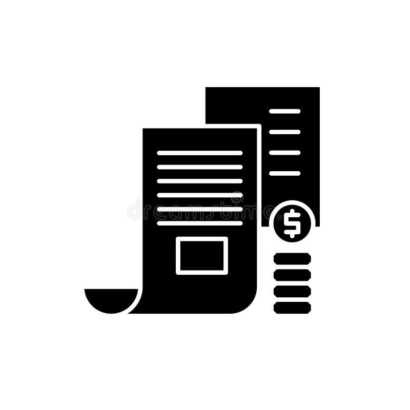 Icono del negro del memorándum del inversor, muestra del vector en fondo aislado Símbolo del concepto del memorándum del inversor stock de ilustración